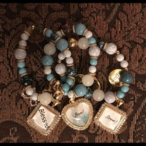 3 bracelets with blue and silver blingy charms!